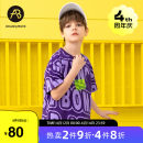 T-shirt violet AB (mother infant) 110cm 120cm 130cm 140cm 150cm 160cm male summer Short sleeve Crew neck leisure time There are models in the real shooting nothing cotton letter Cotton 100% T-A211-013911 Class B Summer 2021