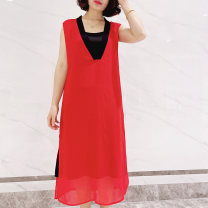 Dress Summer 2021 Red and black M L XL 2XL 3XL Mid length dress singleton  Sleeveless commute V-neck middle-waisted stripe Socket A-line skirt routine camisole 25-29 years old Type A Elf box More than 95% Chiffon polyester fiber Polyester 100% Pure e-commerce (online only)