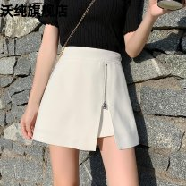 skirt Spring 2021 S M L XL 2XL White black Short skirt commute High waist A-line skirt Solid color Type A 25-29 years old More than 95% other Waupine other zipper Korean version PU