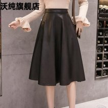 skirt Autumn 2020 S M L XL 2XL black Mid length dress commute Natural waist Umbrella skirt Solid color Type A 25-29 years old 20080505X More than 95% Waupine other Zipper stitching Korean version PU