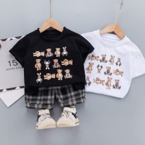 suit Other / other 212214 short sleeve: white, 212214 short sleeve: Black 80cm,90cm,100cm,110cm,120cm neutral summer leisure time Short sleeve + pants 2 pieces Thin money There are models in the real shooting Socket nothing Cartoon animation cotton children birthday Class A Chinese Mainland
