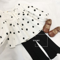 shirt white Other / other female 90cm,100cm,110cm,120cm,130cm,140cm spring and autumn Long sleeves princess Dot cotton Department leader Other 100% other