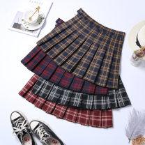 skirt Autumn 2020 XS S M L XL 2XL Short skirt commute High waist A-line skirt lattice Type A 18-24 years old 91% (inclusive) - 95% (inclusive) other Boumanteau polyester fiber Button zipper Korean version Other polyester 95% 5% Pure e-commerce (online only)