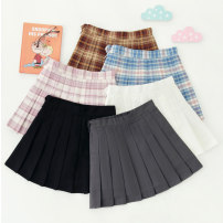 skirt Spring 2021 S M L XL 2XL Blue, pink, coffee, black, gray, white Short skirt fresh High waist Pleated skirt lattice Type A 18-24 years old BMD-1576-5 brocade Boumanteau Pleated button zipper stitching Pure e-commerce (online only) 401g / m ^ 2 (inclusive) - 500g / m ^ 2 (inclusive)