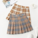 skirt Summer 2020 S M L XL Blue and yellow Short skirt Sweet High waist Pleated skirt lattice Type A 18-24 years old brocade Boumanteau Pure e-commerce (online only) 401g / m ^ 2 (inclusive) - 500g / m ^ 2 (inclusive) college