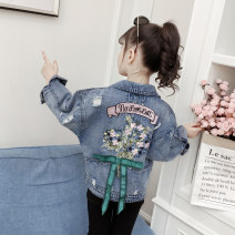 Plain coat Elena female 110cm 120cm 130cm 140cm 150cm 160cm 170cm Denim blue spring and autumn leisure time Single breasted There are models in the real shooting routine nothing Solid color Denim Crew neck Embroidered Denim Jacket Cotton 95% polyester 5% Class B Spring of 2019
