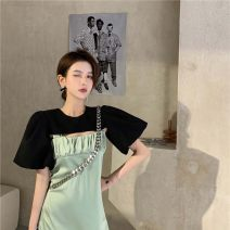 Women's large Summer 2020 Black cape green dress S M L XL Dress singleton  commute Sleeveless Retro One word collar other SGRQ61682 Resplendent style 18-24 years old 96% and above Medium length Other 100% Pure e-commerce (online only)