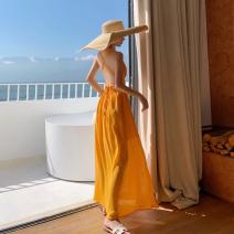 Dress Summer 2020 yellow S,M,L longuette singleton  Sleeveless Sweet V-neck High waist Solid color Socket Big swing Hanging neck style Type A backless Chiffon Bohemia