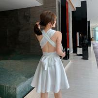 Dress Spring 2021 white S,M,L Short skirt singleton  Sleeveless commute V-neck High waist Solid color Socket A-line skirt Hanging neck style Type A Korean version backless