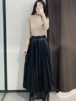 skirt Autumn of 2019 XS,S,M,L Mid length dress street High waist A-line skirt Solid color Type A 25-29 years old TRAF Europe and America