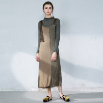 Dress Spring 2021 Brown with dark green and gray S, M longuette singleton  Sleeveless commute Loose waist Socket Irregular skirt camisole 30-34 years old Type H then Retro Ruffles, asymmetric More than 95% acrylic fibres