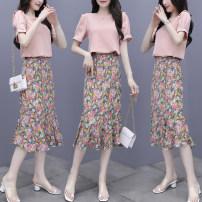 Lace / Chiffon Summer 2020 Pink Purple S M L XL XXL Short sleeve Regular Fadeo Triacetate fiber (triacetate fiber) 100%