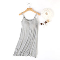 Nightdress Xingzhiting White black pink grey M L XL XXL Sleeveless Leisure home longuette summer Solid color youth Crew neck nylon 6375089378637508939369173660_ sixty-three Spring 2021 Viscose fiber (viscose fiber) 95% polyurethane elastic fiber (spandex) 5% Pure e-commerce (online only)