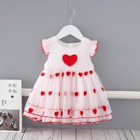 Dress Pink - 19255 female Other / other 73cm,80cm,90cm,100cm,110cm Cotton 95% other 5% summer Korean version Short sleeve love cotton Princess Dress TJ-19255 Class A 3 months, 12 months, 6 months, 9 months, 18 months, 2 years old