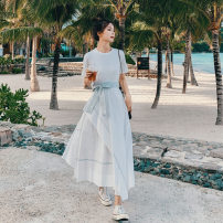 Dress Summer 2021 White, Khaki S,M,L,XL longuette singleton  Short sleeve commute Crew neck High waist Solid color Socket A-line skirt routine 18-24 years old Type A Other / other Splicing Chiffon polyester fiber