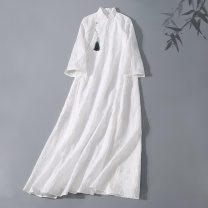 Dress Summer 2020 white S,XL,L,M longuette singleton  three quarter sleeve commute stand collar Loose waist Solid color A button Big swing pagoda sleeve Others Type A Retro jacquard weave HW-A6243 51% (inclusive) - 70% (inclusive) other cotton