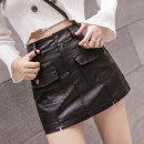 Casual pants black S,M,L,XL,2XL Autumn of 2019 shorts High waist Versatile routine 18-24 years old 81% (inclusive) - 90% (inclusive) PU leather pocket Asymmetry