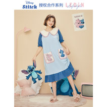 Nightdress Leting blue S M L Short sleeve Middle-skirt other 81% (inclusive) - 95% (inclusive) other Summer 2021 Cotton 92% polyurethane elastic fiber (spandex) 8% Pure e-commerce (online only)