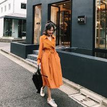 Windbreaker Autumn of 2018 XS S M L XL Orange yellow apricot Long sleeves Thin money Medium length commute Frenulum tailored collar routine Solid color