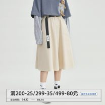 skirt Spring 2021 S,M,L Apricot, black Mid length dress commute High waist A-line skirt Solid color Type A 18-24 years old More than 95% cotton pocket