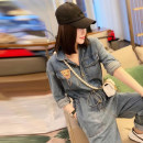 Jeans Spring 2021 blue S,M,L,XL trousers High waist Jumpsuit routine 25-29 years old Badge, metal decoration Cotton denim light colour SCLT21031704 71% (inclusive) - 80% (inclusive)