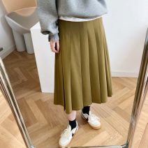 skirt Spring 2021 M, L Black, mustard green longuette commute High waist Pleated skirt Solid color Type A 25-29 years old LL175 fold Retro