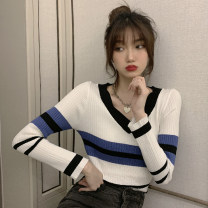 Wool knitwear Winter 2020 S M L XL Black with red stripes white with blue stripes Long sleeves singleton  Socket other More than 95% Regular thick commute Self cultivation V-neck routine stripe Socket Korean version XDH302 18-24 years old Good core Splicing Other 100% Pure e-commerce (online only)