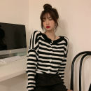 Wool knitwear Winter 2020 S M L XL Black and white stripes Long sleeves singleton  Cardigan other More than 95% have cash less than that is registered in the accounts routine commute easy Low crew neck routine stripe Single breasted Korean version XDH286 18-24 years old Good core Button Other 100%