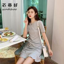 Dress Summer of 2019 Grey black S M L XL Mid length dress singleton  Short sleeve commute Crew neck middle-waisted Solid color Socket A-line skirt routine Others 18-24 years old Type A Good core Korean version Bowknot tuck lace up More than 95% brocade other Other 100% Pure e-commerce (online only)