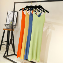 Dress Summer 2020 Mid length dress singleton  Sleeveless commute V-neck middle-waisted Solid color Socket A-line skirt camisole Type A Korean version 51% (inclusive) - 70% (inclusive) knitting other