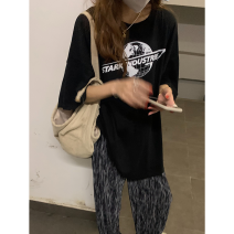 T-shirt Available in stock, black, pink, 1-day hair Average size Spring 2021 Short sleeve Crew neck easy Medium length routine commute cotton 71% (inclusive) - 85% (inclusive) Korean version letter printing