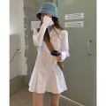 Dress Spring 2021 White, white stock (1-3 days) S, M Mid length dress singleton  Long sleeves commute other High waist Solid color Single breasted other other Others Type A Wu 77 Korean version Pocket, button More than 95% other cotton