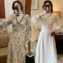 Dress Spring 2021 Jade white lace blue lace black bottom flower S M L XL Mid length dress singleton  Long sleeves commute V-neck High waist Decor Socket A-line skirt bishop sleeve Others 25-29 years old Type A Yousenyou Korean version 71% (inclusive) - 80% (inclusive) Lace polyester fiber