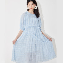 Dress Summer 2021 Light blue (pre-sale in mid April), light blue (pre-sale at the end of April) S, M longuette Two piece set elbow sleeve commute Crew neck High waist lattice Socket other puff sleeve Others 18-24 years old Type A U are / ear literature D68TN1714 51% (inclusive) - 70% (inclusive)