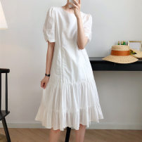 Dress Summer 2021 white M, L Mid length dress singleton  Short sleeve Sweet Crew neck Loose waist Solid color Socket A-line skirt puff sleeve Others Type A Other / other 31% (inclusive) - 50% (inclusive) other cotton