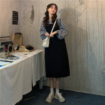 Dress Autumn 2020 Black skirt, black and white plaid top Average size longuette Two piece set Long sleeves commute Crew neck Loose waist lattice Socket A-line skirt routine 18-24 years old Splicing 803# cotton