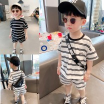 suit Other / other Light stripe stock, dark stripe stock 80cm,90cm,100cm,110cm,120cm,130cm male summer Korean version There are models in the real shooting stripe cotton 12 months, 9 months, 18 months, 2 years old, 3 years old, 4 years old, 5 years old, 6 years old Chinese Mainland