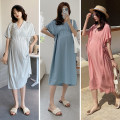 Dress IMOMO Light green, skin pink, ice blue Average size Korean version Short sleeve Medium length summer V-neck Solid color