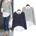 Women's large Spring of 2018 Large XL, large XXL, large XXL, large XXXXL, large XXXXL shirt Fake two pieces street easy moderate Socket Long sleeves Crew neck routine Polyester, cotton Collage routine Other / other 25-29 years old