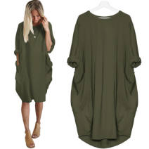 Dress Fall 2017 Army green, pink S,M,L,XL Mid length dress singleton  Long sleeves street Crew neck High waist Solid color Socket routine Type H Other / other 31% (inclusive) - 50% (inclusive) cotton Europe and America