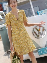 Dress Spring 2021 Decor XXS,XS,S,M,L Short skirt singleton  Short sleeve street Crew neck High waist Decor Single breasted Ruffle Skirt puff sleeve Others 30-34 years old Type A Bow, Ruffle More than 95% Crepe de Chine silk Europe and America