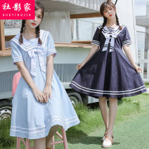 Dress Summer 2021 Navy sky blue S M L XL Mid length dress singleton  Short sleeve Sweet Admiral High waist Solid color Socket A-line skirt routine 18-24 years old Social filmmaker Splicing 51% (inclusive) - 70% (inclusive) cotton Cotton 60% polyester 40% solar system Pure e-commerce (online only)