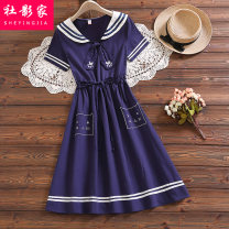 Dress Summer 2021 Navy Blue S M L XL XXL Mid length dress singleton  Short sleeve commute Admiral High waist Solid color Socket A-line skirt routine 18-24 years old Social filmmaker Korean version Embroidery 51% (inclusive) - 70% (inclusive) cotton Cotton 60% polyester 40%