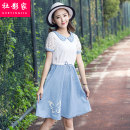 Dress Summer of 2018 Picture color S M L XL Mid length dress singleton  Short sleeve Sweet Doll Collar middle-waisted Animal design Socket A-line skirt puff sleeve Others 18-24 years old Type A Social filmmaker 51% (inclusive) - 70% (inclusive) cotton Cotton 62% polyester 38% college