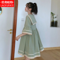 Dress Summer 2021 Bean green brick red 1S 1M 1L Middle-skirt singleton  elbow sleeve Sweet Admiral Loose waist Solid color Socket A-line skirt pagoda sleeve Others 18-24 years old LP / lovepat Pleated lacing LPQ210401Y8 51% (inclusive) - 70% (inclusive) cotton Cotton 65% polyester 35% college