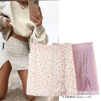 skirt Spring 2021 S,M,L Purple, beige Short skirt street High waist A-line skirt Decor Type A 18-24 years old 782- printing Europe and America