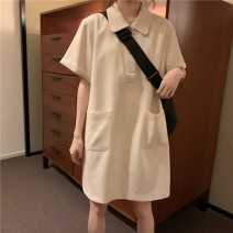 Dress Summer 2021 Apricot, black Average size Mid length dress singleton  Short sleeve commute Polo collar High waist Solid color Three buttons A-line skirt routine Others 18-24 years old Type A Korean version pocket C0307 31% (inclusive) - 50% (inclusive) other polyester fiber