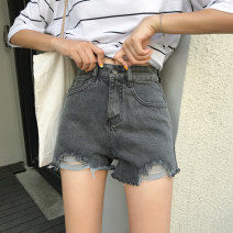 Jeans Summer of 2019 White, blue S,M,L shorts High waist routine 18-24 years old Whiten, wash and make old 51% (inclusive) - 70% (inclusive)