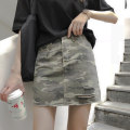 skirt Spring of 2019 S,M,L Camouflage Short skirt commute High waist Denim skirt other Type A 18-24 years old More than 95% other Holes, pockets, buttons, zippers Korean version