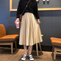 skirt Spring of 2019 Average size Black, apricot, khaki Mid length dress Versatile High waist Pleated skirt Solid color Type A 18-24 years old More than 95% polyester fiber